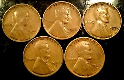 Lot Of  (5)  Lincoln Cents 1927-S