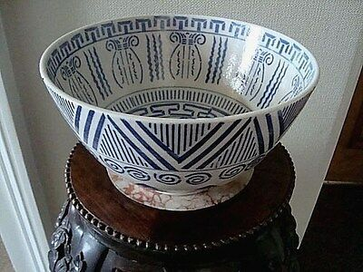 ANTIQUE CHINESE BLUE & WHITE LARGE BOWL HAND PAINTED MARK ON BASE 1.74kg