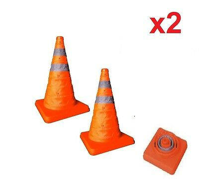 """2x 18"""" COLLAPSIBLE PULL OUT POP UP SAFETY EMERGENCY ACCIDENT TRAFFIC ROAD CONES"""