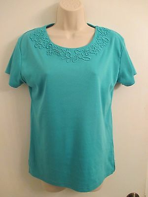 Donna Lewis Turquoise Blue Short Sleeve Cotton Blend Knit Top Size L NWT