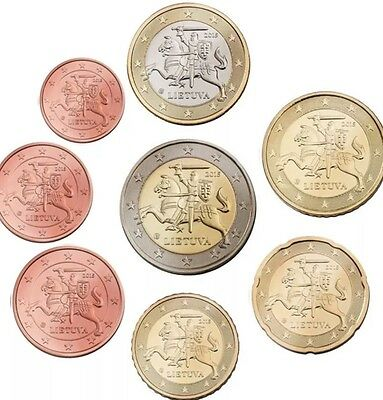 Lithuania 🇱🇹 Euro Set 8 Coins 2015 Complete All New From Roll BUNC 1cent To 2€