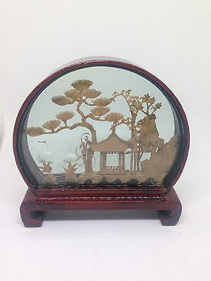 Vintage Japanese Cork Diorama in a Red Lacquered Frame