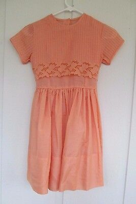 Vtg 1960s Girl's Melon Cotton Batiste with Pin-Tucks & Cut-Out Lace Party Dress