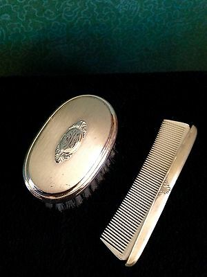Vintage Golden Wheel Sterling Silver Child's Comb And Brush Set In Original Box