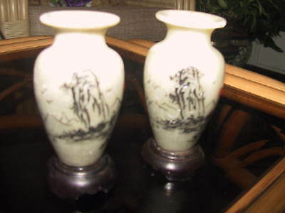 Pair of Vintage Chinese soapstone vases with inscriptions