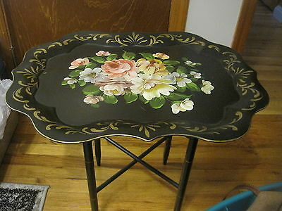 "Vtg Black Floral Toleware Metal Tray Table ART GIFT 25"" x 19 1/2"" x 19"""