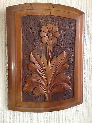 antique Hand Carved Arts/craft Wood panel With Flower Design