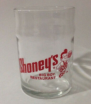 Vintage Shoneys Big Boy Restaurant 3.5 inch Juice Water Drinking Glass Red Logo