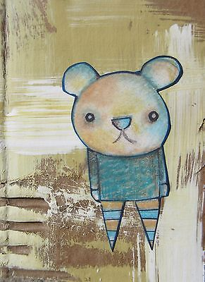 ACEO Bear Animal Original Collage Mixed Media Original Drawing Recycled Art