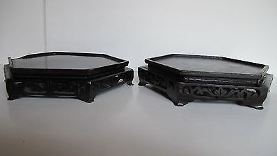 "Pair of Antique Asian Chinese Carved Wood Hexagon Vase Stands 7.75"" wide top"