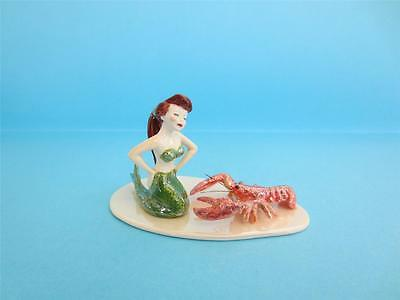 Retired Rare Hagen Renaker Porcelain Mermaid W/lobster Figurine Lovely *mint*