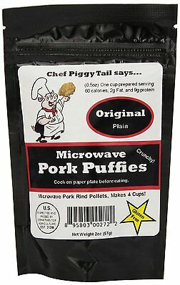 Pork Rinds  2 oz Pkg. Enjoy fresh microwave or bake. Makes 4 cups when puffed
