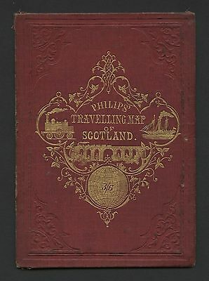 Scotland, c1850 Antique Map, Philips' Travelling Map, Hard Cover. (3332)