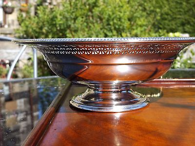Vintage Silver Plated Mappin & Webb footed pierced FRUIT BOWL / CAKE STAND.