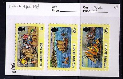 PITCAIRN ISLANDS Stamps,Bounty Day Sc# 174-6 Cpl. MNH Set