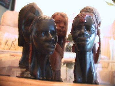 Vintage collection of five Carved African tribal heads