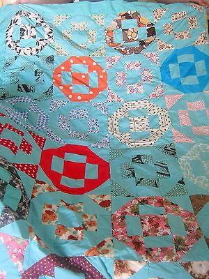 Unfinished Quilt Top Blue with Symmetrical Blocks