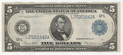Circulated 1914 $5 Federal Reserve Note--San Francisco District, Fr. 891-A