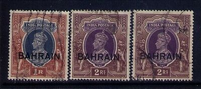 Bahrain Ovpt on Indian Stamps KGVI SC # 32;33X2 Used Cat.$20