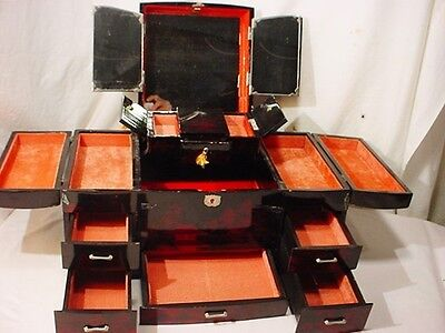 Vtg Large Japanese Lacquer Jewelry Box many Drawers Mirror Mother Pearl Tassels