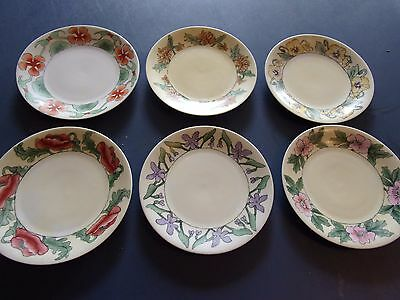 "6 D&c France Signed Floral 7 3/8"" Hand Painted Plates 1910 - Maggie Whitley"