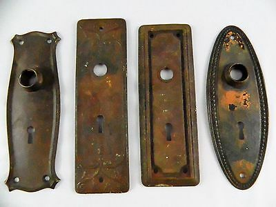 Vintage Rusty Door Plates Set of 4 Different Designs Antique Metal Rustic Shabby