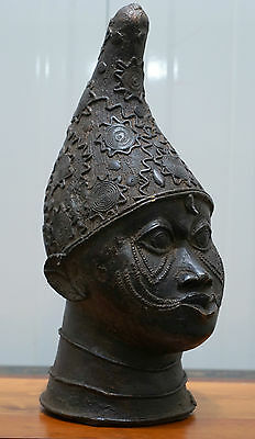 Antique African Benin Bronze Full Sized Head Very Rare 40Cm Tall Fine Example
