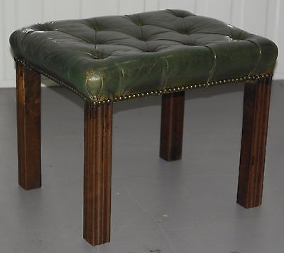 Georgian Chesterfield Footstool Rare Find Must See Green Leather All Buttoned