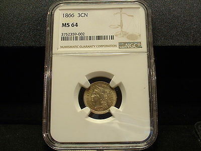 1866 U.s. Three Cent Nickel Ngc-Ms-64-Beautiful Uncirculated Coin!