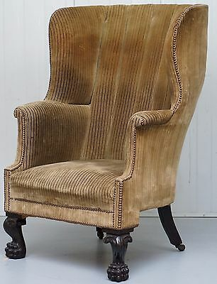 Rare 17Th - 18Th Century Barrel Back Lion Hairy Paw Carved Foot Armchair Must Se
