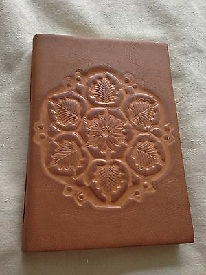 Antique Debossed Leaves Brown Italian Leather Lined Journal (6'' x 8'') NEW