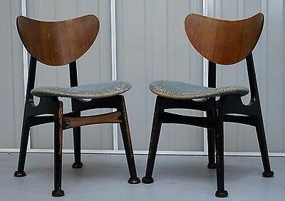 Pair Of Vintage Patian 1950's G Plan Butterfly Chairs Stunning Worn Distressed