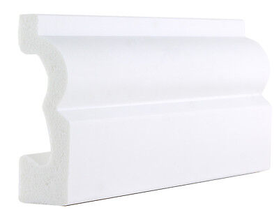 White Plastic PS Torus Architrave / Skirting Boards -70mm x 20mm x 2900mm