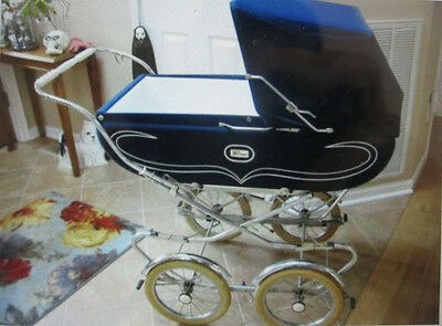 Vintage Italian Peg Perego Pram Baby Stroller Carriage Navy Blu Chrome 1974 MINT