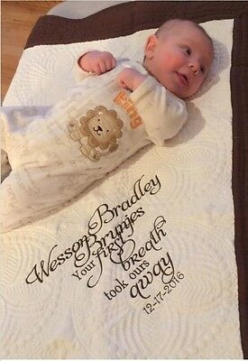 Baby Boy Girl Quilt Personalized Name Date Machine Embroidery New Scalloped Edge