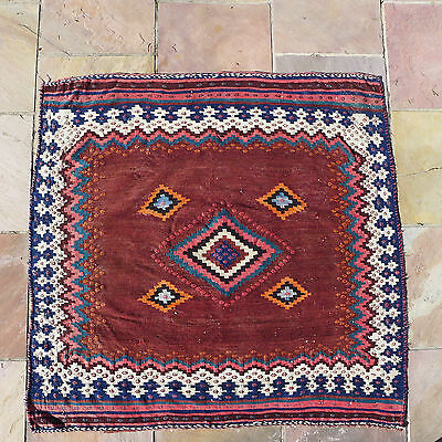 "Sofreh 44"" x 48"", wool and cotton. Kilim."