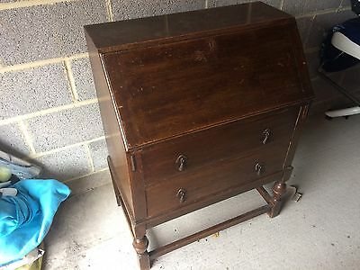 antique dark wood bureau/writing desk