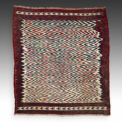 "West Persian Sofreh: 42"" x 37"" (94 x 106.5 cm, wool and cotton. Kilim."