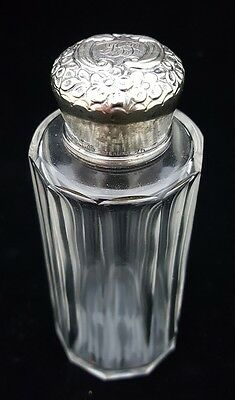 Vintage PERFUME BOTTLE with embossed STERLING SILVER top