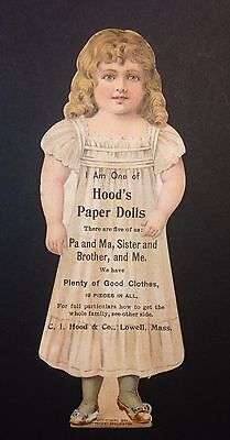 Antique 1890's Hood's & Co. Pills Pharmaceutical Paper Doll Figural Trade Card
