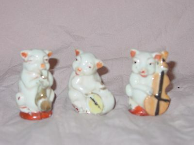 """Collectible 50's Japan Iridescent Lusterware, 3 Pc. """"Pigs in a Band"""""""