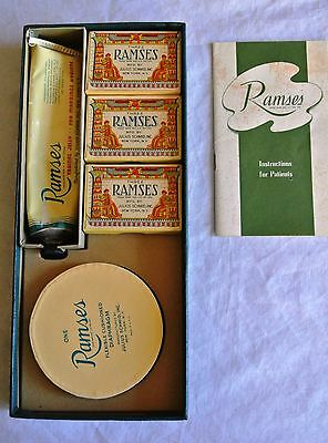 1943 Ramses Physician's Packet, Diaphragm, 3 condom boxes, Vaginal Jelly not tin