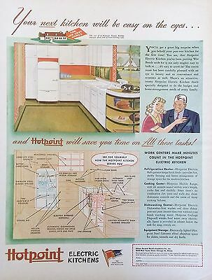 Vintage 1944 HOTPOINT ELECTRIC KITCHEN & APPLIANCES  Original Magazine Print Ad