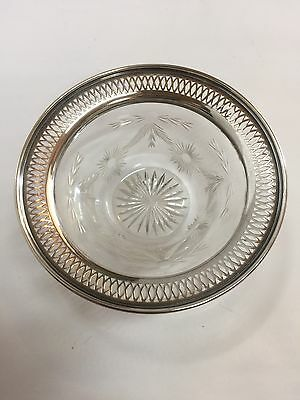 Vintage Sterling Silver And Cut Glass Bowl