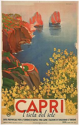 CAPRI 1948 Vintage Italian Travel Poster Rolled CANVAS ART PRINT 24x36 in.