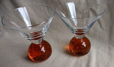 2 E. COINTREAU Stemless AMBER Orange BUBBLE Ball Cocktail Bar Martini Glasses