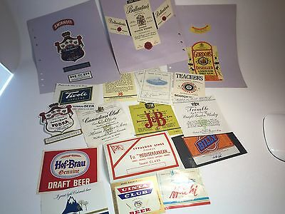 Ephemera lot Beer Liquor spirits alcohol bottle label lot brand advertising
