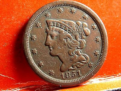 1851 Braided Hair Early Copper Half Cent