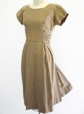 Vintage 1950s 50s brown & white polkadot cotton short sleeve wiggle dress - s