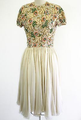 Vintage 1960s 60s designer Pat Sandler floral sequin beaded silk chiffon dress